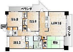 クラシオン木町 24棟[7階]の間取り