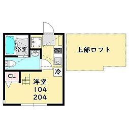 エスト鶴見(エストツルミ) 1階ワンルームの間取り