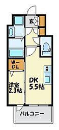 福岡市地下鉄七隈線 渡辺通駅 徒歩4分の賃貸マンション 13階1DKの間取り