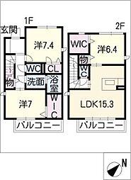 [タウンハウス] 愛知県名古屋市名東区高針5丁目 の賃貸【愛知県 / 名古屋市名東区】の間取り