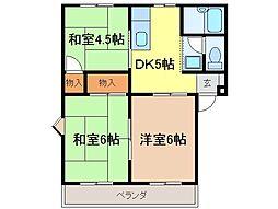 静岡県富士市永田町の賃貸アパートの間取り