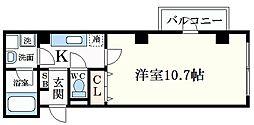 阪神本線 深江駅 徒歩6分の賃貸マンション 5階1Kの間取り