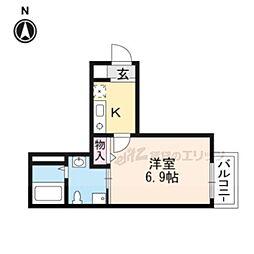 レヴィア東寺 2階1Kの間取り