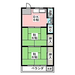 西川ハイツ[3階]の間取り