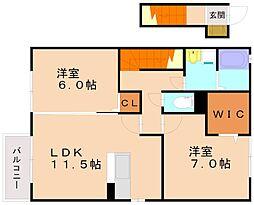 福岡県福岡市南区若久5丁目の賃貸アパートの間取り