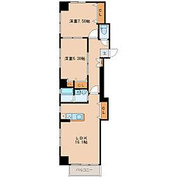 仙台市営南北線 勾当台公園駅 徒歩9分の賃貸マンション 2階2LDKの間取り