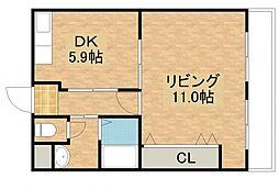 大阪府大東市扇町の賃貸マンションの間取り