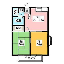 エステートピア松原[2階]の間取り