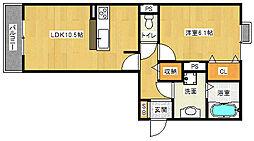 滋賀県栗東市下鈎小松寺の賃貸アパートの間取り
