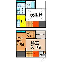 愛知県名古屋市南区三吉町4丁目の賃貸アパートの間取り