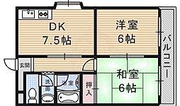 第5金森マンション 5階2DKの間取り
