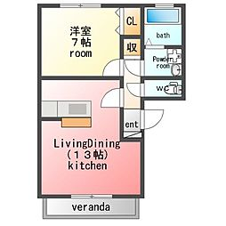 パラシオンAbe[2階]の間取り