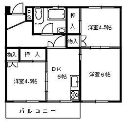 神奈川県厚木市旭町5丁目の賃貸マンションの間取り
