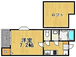 福岡県福岡市博多区石城町の賃貸アパートの間取り