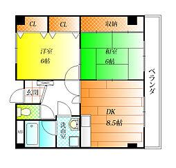 プロヴァンス・イン 松原[4階]の間取り