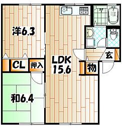 プリムヴェールパルクD棟[1階]の間取り