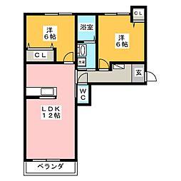 ロイヤルヨークIII B[2階]の間取り