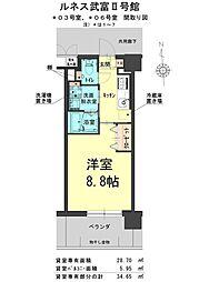 ルネス武富II 4階1Kの間取り