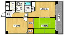 姫島ローズハイツII[402号室]の間取り