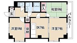 愛知県名古屋市天白区平針2丁目の賃貸マンションの間取り