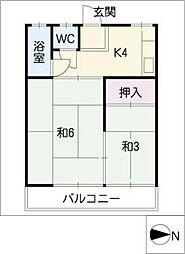 加和奈コーポラス[2階]の間取り