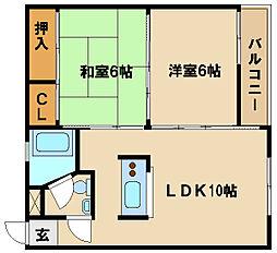 ソレイユ王塚台[203号室]の間取り