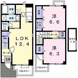 リバ−ジュ北島A[0106号室]の間取り