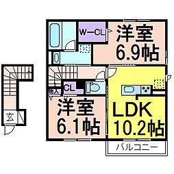 (仮)D-room鹿沼B 2階2LDKの間取り
