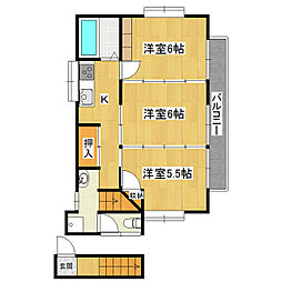 中川コーポ[2階]の間取り