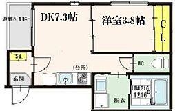 フィオーレ 3階1DKの間取り