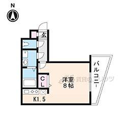 叡山電鉄叡山本線 茶山駅 徒歩1分の賃貸マンション 1階1Kの間取り