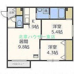 北海道札幌市東区北三十三条東10丁目の賃貸マンションの間取り