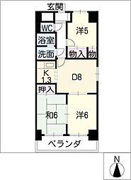 マンション森[8階]の間取り