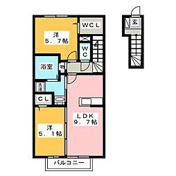 メゾンフィオーレB[2階]の間取り