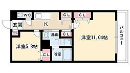 愛知県名古屋市守山区吉根1丁目の賃貸アパートの間取り