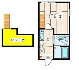 JR横浜線 菊名駅 徒歩6分の賃貸アパート 2階1Kの間取り