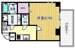 JR東西線 新福島駅 徒歩3分の賃貸マンション 6階1Kの間取り