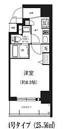 GRACE NORTH NISHITEMMA 5階1Kの間取り
