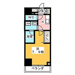 江戸川橋ステーションレジデンス 4階1Kの間取り