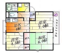 ヒルスフラット[1階]の間取り