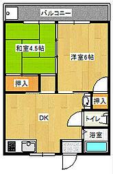桜ヶ丘荘 2階2DKの間取り