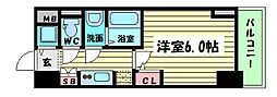 Osaka Metro四つ橋線 四ツ橋駅 徒歩7分の賃貸マンション 2階1Kの間取り