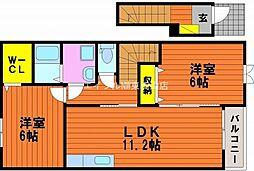 岡山県玉野市田井4丁目の賃貸アパートの間取り