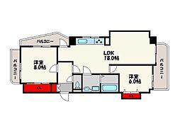 福岡県福岡市中央区浄水通の賃貸マンションの間取り