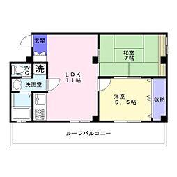 シャトー高濱[5階]の間取り