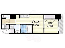 S-RESIDENCE江坂Eminence 4階1DKの間取り