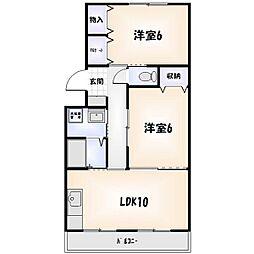 徳島県徳島市昭和町6の賃貸マンションの間取り