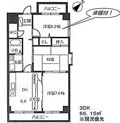 愛知県稲沢市北市場本町1丁目の賃貸マンションの間取り