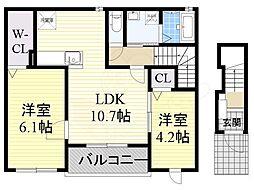 Osaka Metro御堂筋線 新金岡駅 徒歩19分の賃貸アパート 2階2LDKの間取り