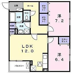 大阪府高槻市郡家新町の賃貸アパートの間取り